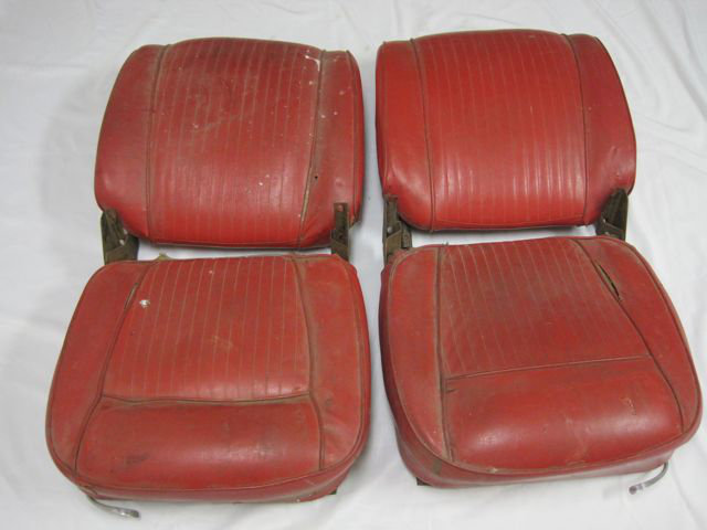 1961 - 1962 Corvette Seats w Tracks Set Red Used Original