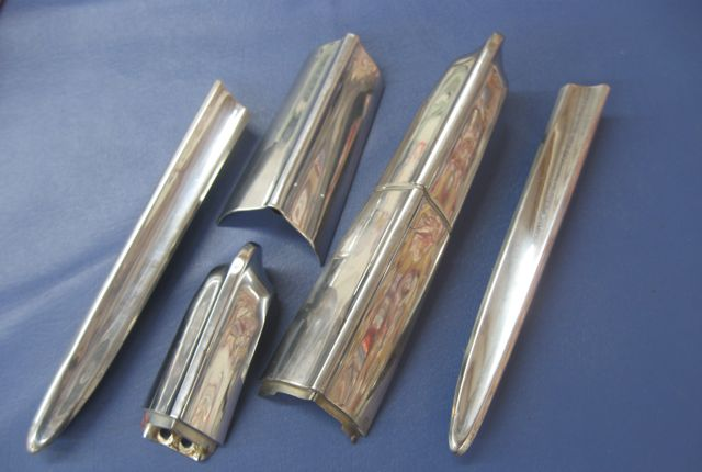 1957 Chevy Gas Door Trim Tail Fin Set Stainless Used Original