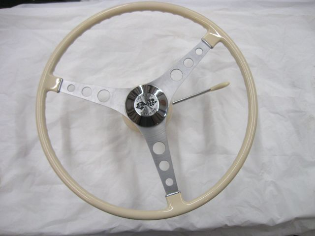 1956 1957 Corvette Original Steering Wheel Assembly Beige