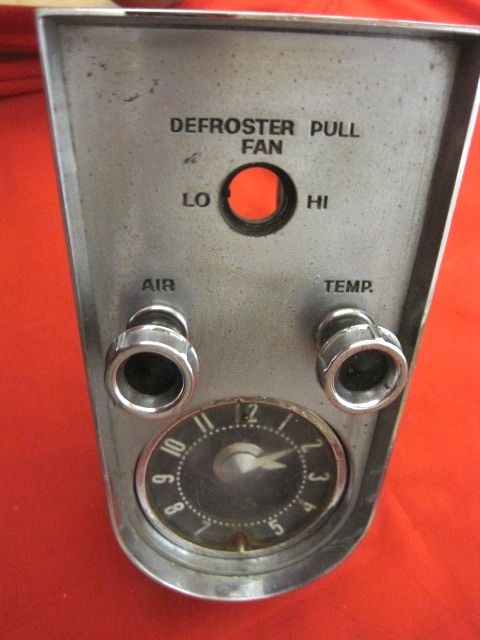 1958 - 1962 Corvette Heater Clock Plate Used w Vent Temp Cables