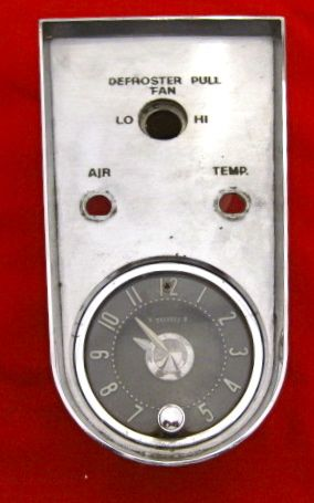 1958 thru 1962 Corvette Heater Clock Plate w Clock Used